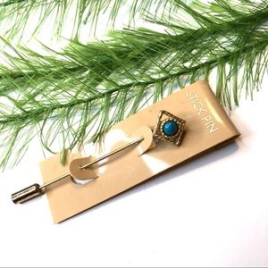 Vintage Turquoise and gold tone stick pin brooch